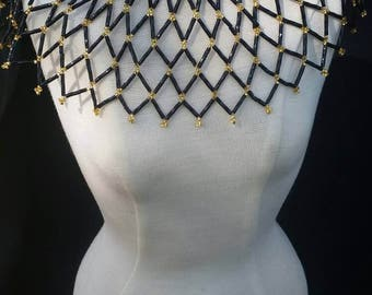 Black and Gold Seed Bead Collar Necklace