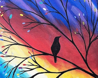 Bird on a Branch. 11X14 Acrlic on Canvas Painting
