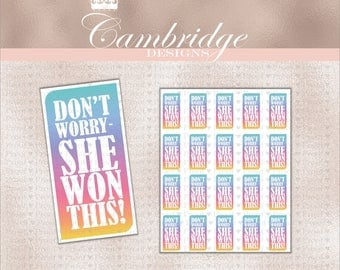 Don't Worry She Won This Rainbow Stickers Qty 20 - Home Office Approved Fonts and Colors Business Card, Digital