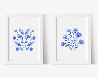 Watercolor Painting, Watercolor Picture Blue and White Flowers Set, Watercolor Print, Floral Pictures, Hand Painted (5x7, 8x10, 11x14)