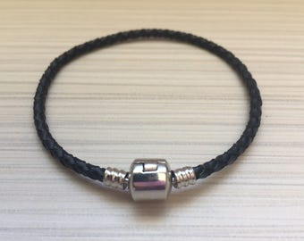 1pcs Bracelet genuine leather Black / Black Leather bracelet