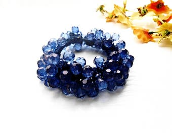 Hair Scrunchie Royal Dark Blue Cotton Crochet Embroidery Ponytail Holder Maker Glass Seed Beads Pearl Pony Tail Wrap Hair Ties Ponytail Tie