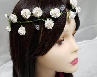 Handmade White Rose Tiara