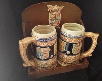 Enesco Vintage Beer Steins Mugs (pair)