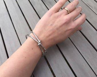 Adjustable Silver Knot Design Cuff Bangle Bracelet Modern Funky women's sailor