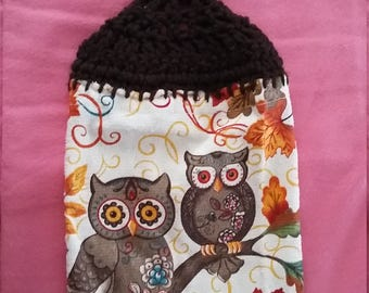 Fall Owls Kitchen Towels with Crocheted top