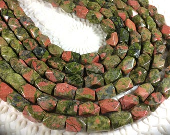 """Unakite Gemstones , Faceted Cuboid bead. Approx 8x10mm, 15"""" strand, 1mm hole, one strand"""