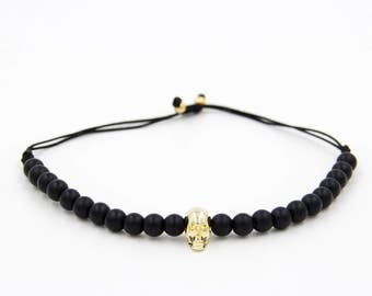 Bracelet skull zircon gold with pearls Classymo