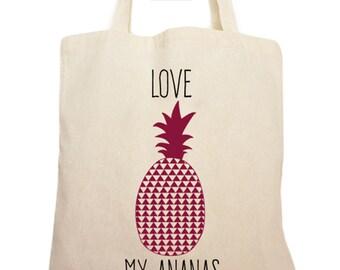 Tote bag love pineapple