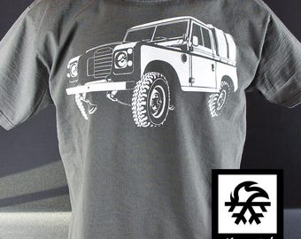 T-Shirt Land Rover Defender series illustration by Waveslide
