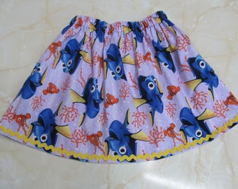 Finding Dory & Seaweed Childrens Skirt with a hint of Yellow Ric Rac