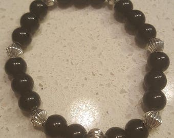 Black Jade bead bracelet with silver accents