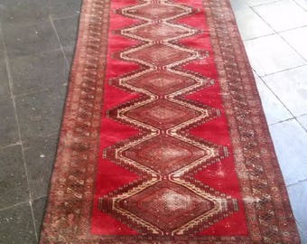 Oushak Rug, Turkish Vintage Runner Rugs,Wool on Cotton Rugs Handmade Runner Rug, Home living, Area Rug, Floor Red colors Rug3X9 fT,95x285cm