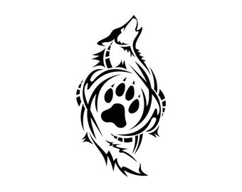 Tribal Wolf Paw Graphics SVG Dxf EPS Png Cdr Ai Pdf Vector Art Clipart instant download Digital Cut Print File Cricut Silhouette Decal