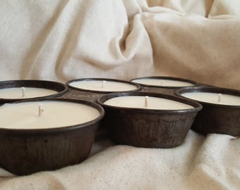 Soy Candles in an early primitive muffin pan
