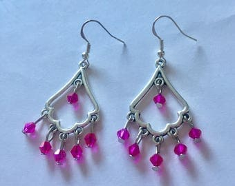 Silver and Pink Chandelier Dangly Earrings with Swarovski Crystals On Sterling Silver Ear wires.