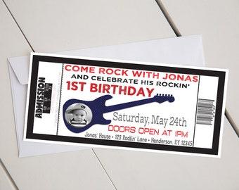 Rock N Roll Birthday Party Invitation-Printable-Digital-4x8-Rockstar