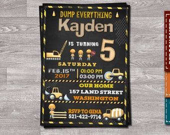 Construction Invitation, Construction Birthday, Dump Truck Invitation, Digger Invitation, Construction Birthday Party, Dump Truck Party