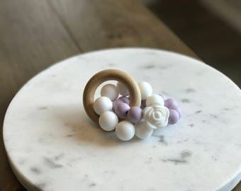 Lavender Silicone Wooden Teether