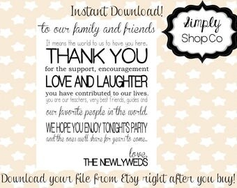 Wedding Thank You sign, signs, thank you, DIY, printable, digital file, instant download, you print, love and laughter, friends, family