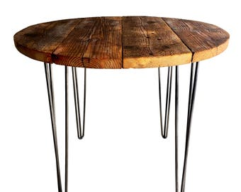 Industrial Reclaimed Timber Scaffold Board, Round Table. On Vintage, Retro Hairpin Legs