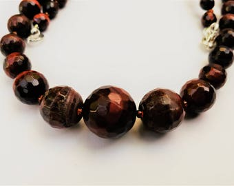 Semi-rough, faceted, graduated tiger eye bead necklace