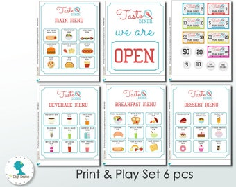 Diner Restaurant Print and Play Printable Toy Set, Instant Download