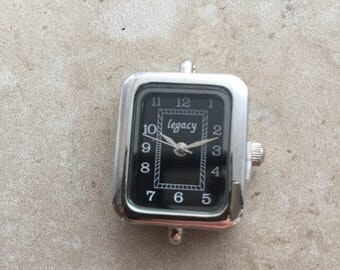 Silver rectangular watch face for beading, jewelry making