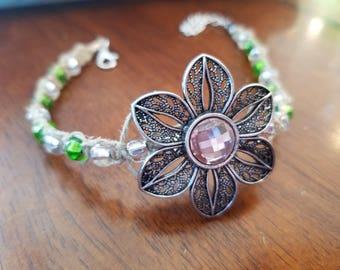 Handwoven Beaded Flower Bracelet
