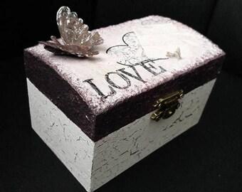 "Romantic hand made wooden jewel box ""Love"" * decoupage unique, vintage"