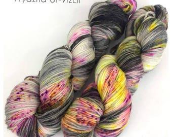 TENDY, Fluorescent yarn, knitting, Hand Dyed yarn, Merino Wool