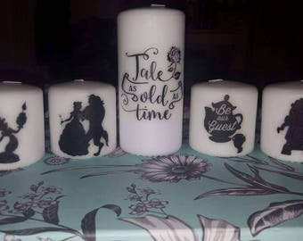 beauty and the beast large candle set