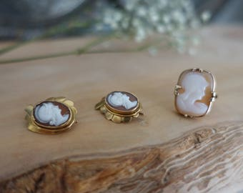 Antique Victorian Gold Shell Cameo Set - Earrings and Ring