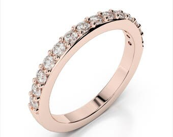 0.42ctw Diamond Wedding Band 14k Rose Gold
