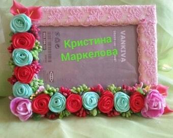 Fotoramochka 10 * 15 of roses satin ribbons
