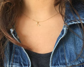 Moon Charm 14kt Gold Filled // or Sterling Silver Necklace