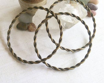 Spiral Twist Boho Brass Bangle
