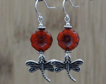 Dragonfly Red Flower Earrings