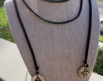 Black Suede LONG Necklace
