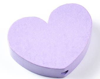 Wooden motif beads, heart, lilac, *non-toxic*