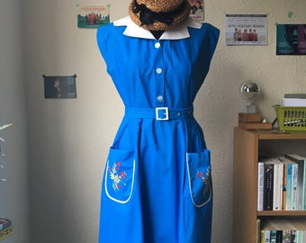 1950s French Blue Day Dress with White Collar, matching Belt and lovely Embroidered Pocket Detail