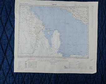 Vintage Silk SAS Escape Scarf Cloth Map from 1950 - BANDARABBAS // HOFUF