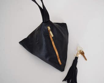 Faux Leather Triangle Bag