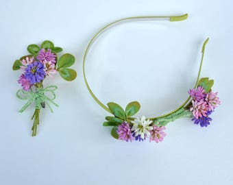Flower headband and brooch Clover