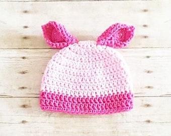 Crochet Baby Piglet Pig Winnie The Pooh Hat Beanie Handmade Photography Photo Prop Baby Shower Gift Present