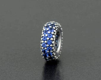 Authentic Pandora s925 Sterling Silver Blue Pave Spacer 791359NCB