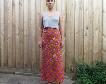 Amazing 60s psychedelic rainbow full length high waisted skirt