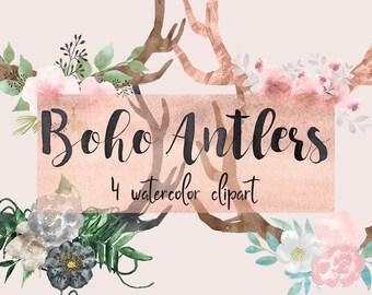 Floral antlers clipart, boho clipart, deer antlers clipart, bohemian clipart, watercolor antlers, antlers clipart, antlers png, boho deer