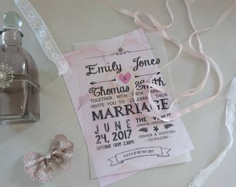 Vellum Wedding Invitations With Card Backing