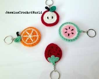 Amigurumi, Crochet, Apple, Orange, Strawberry, Watermelon Keychain